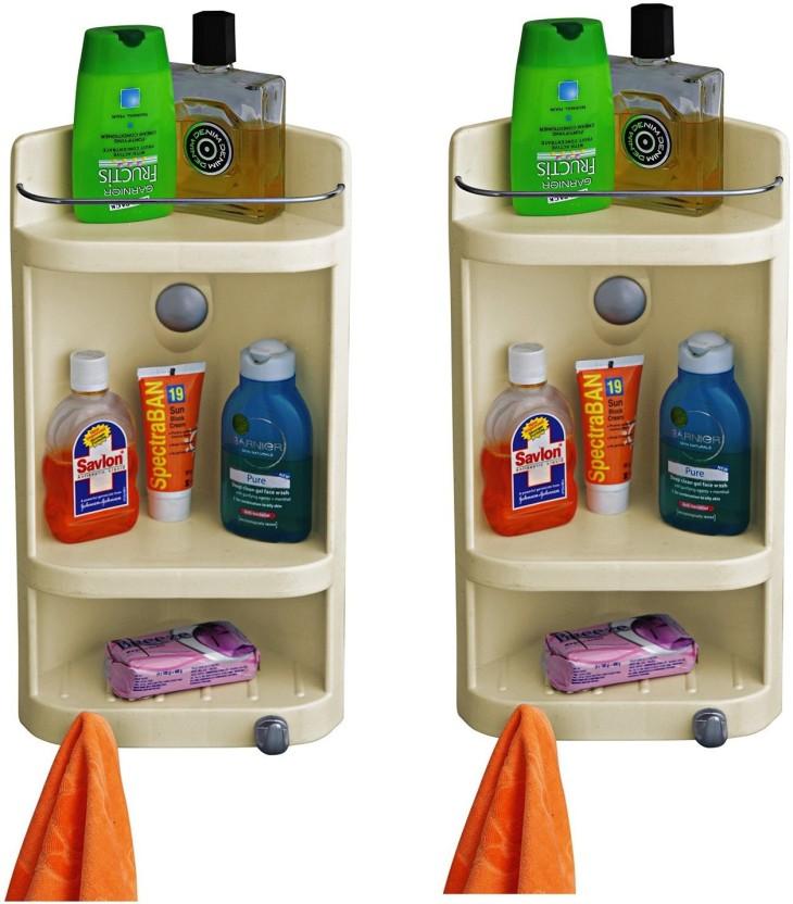 FINE FESTA Fine Festa Dual Shelf Corner Cabinet Plastic Wall Shelf