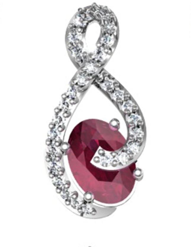 GO4CARAT 14K White Gold, Rhodium Diamond, Cubic Zirconia Sterling Silver Pendant
