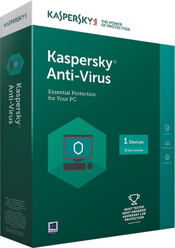 KASPERSKY Antivirus Software 2017 1 Pc 3Year (1cd,1095 Days Valid Serial Key This serial key also use for renewal purpose)