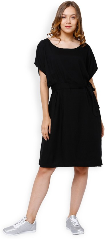 Tokyo Talkies Women Fit and Flare Black Dress