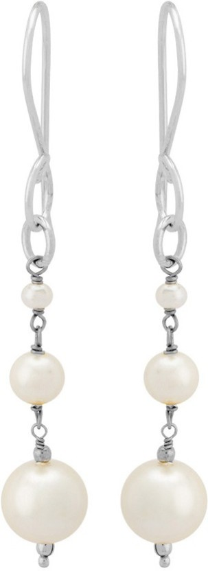Voylla Silver Plated Pearl Beads Drop Earrings from Pearl Galleria Pearl Brass Dangle Earring