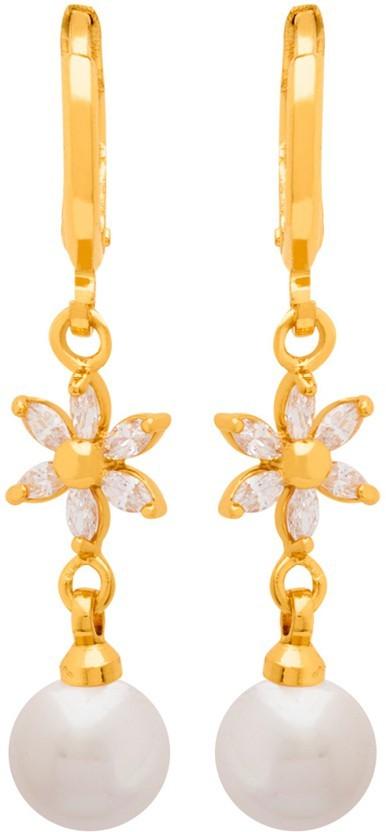 Voylla Dainty Gold Plated Dangler Earrings from Generic CZ Cubic Zirconia Brass Dangle Earring