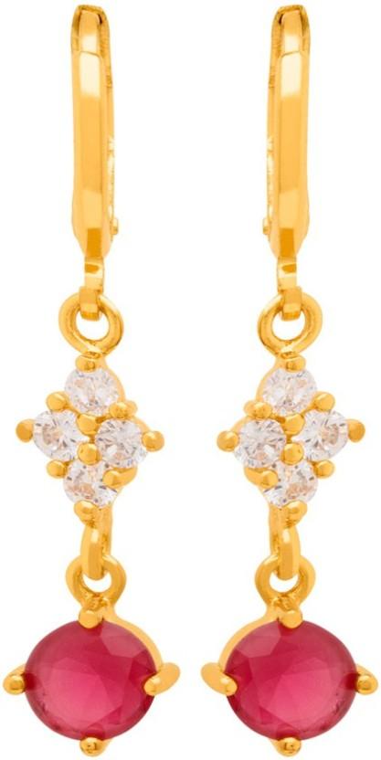 Voylla Red Gem Gold Plated Dangler Earrings from Generic CZ Brass Drop Earring