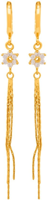Voylla Floral Gold Plated Tassel Earrings from Generic CZ Cubic Zirconia Brass Dangle Earring