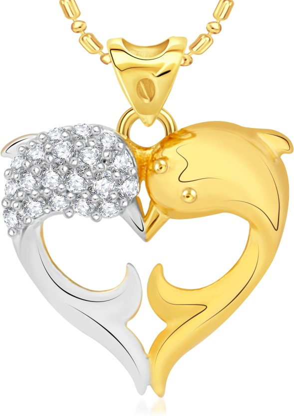 VK Jewels Dolphin 18K Yellow Gold Cubic Zirconia Alloy Pendant