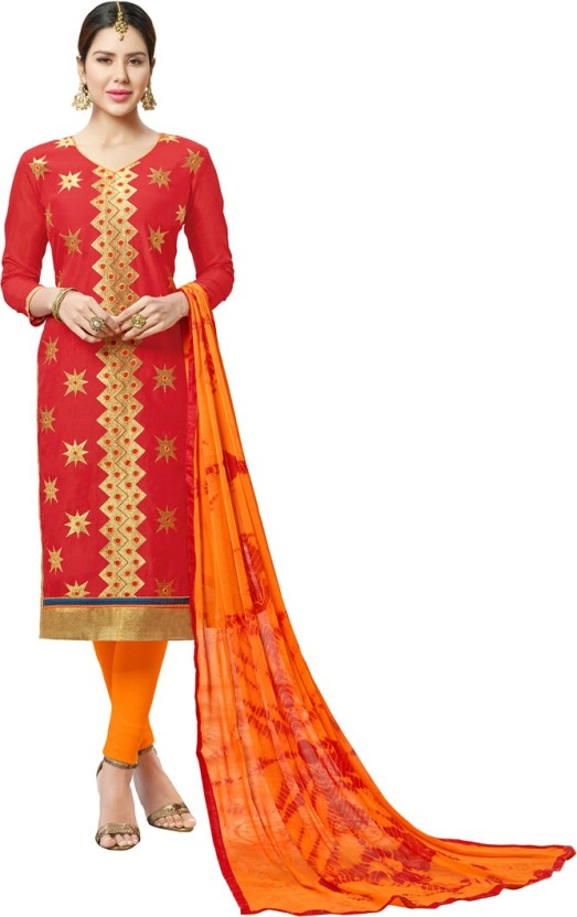 Manvaa Chanderi Cotton Embroidered Semi-stitched Salwar Suit Dupatta Material