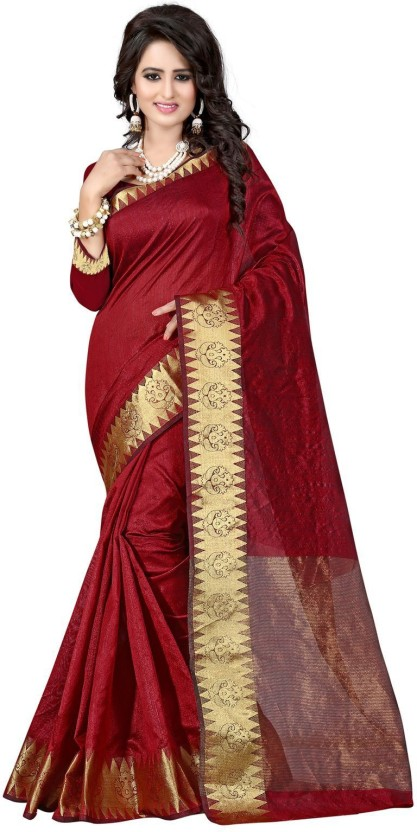 The Fashion Outlets Woven Kanjivaram Cotton, Silk Saree