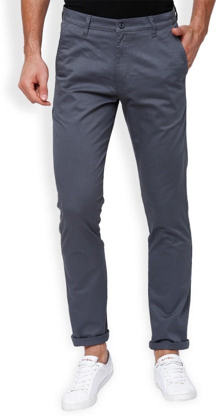 Highlander Slim Fit Men Grey Trousers