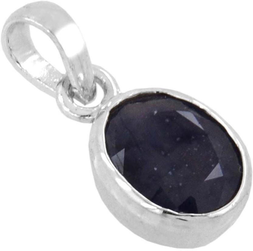 Kataria Jewellers 5.69 Carat 6.25 Ratti Natural Blue Sapphire Neelam Panch Dhatu Metal Pendant