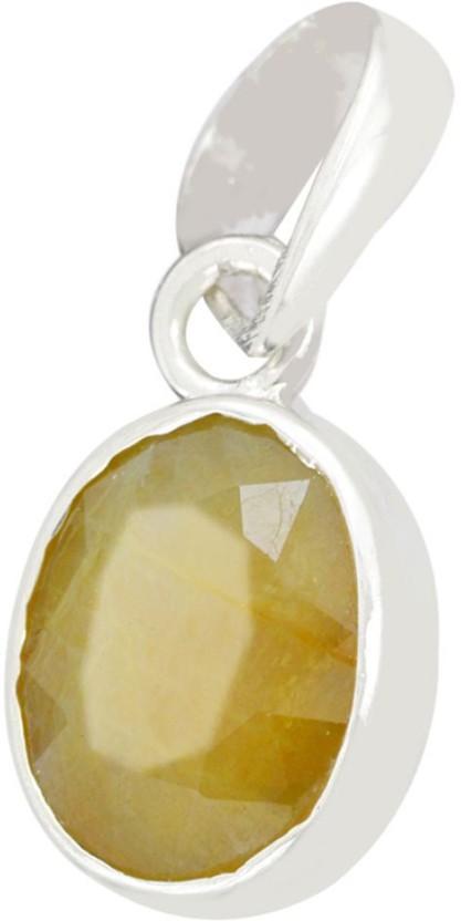 Kataria Jewellers 6.6 Carat 7.25 Ratti Natural Yellow Sapphire Pukhraj/Pushkraj/Pokhraj Asht Dhatu Metal Pendant