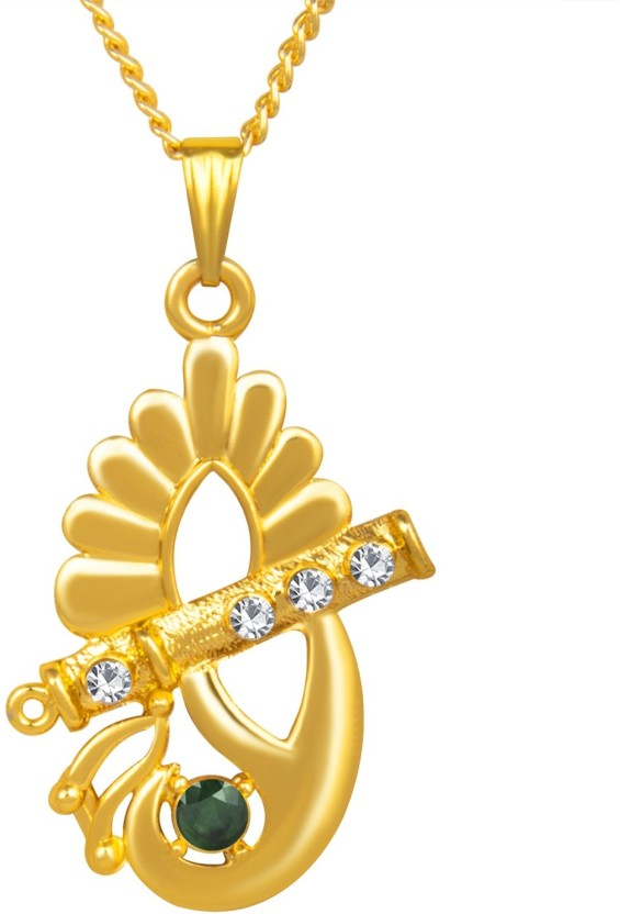 om jewells Yellow Gold Crystal Alloy Pendant