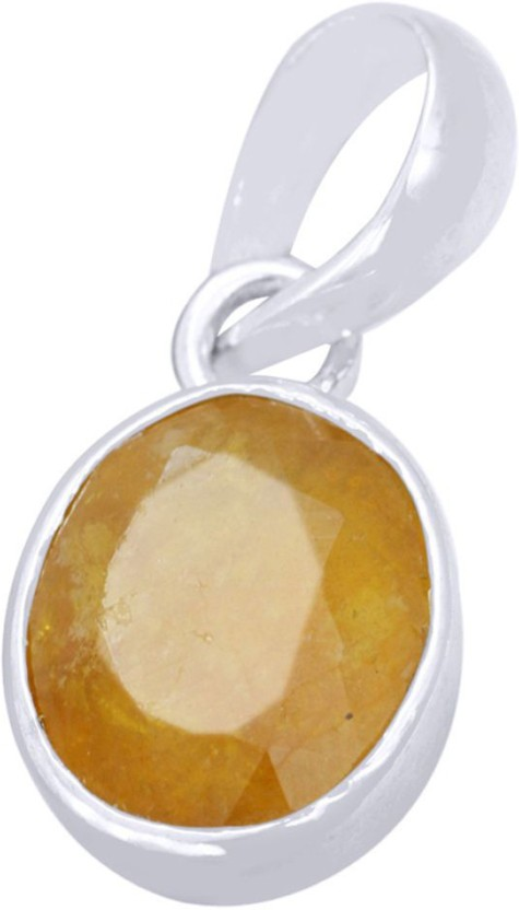 Kataria Jewellers 3.87 Carat 4.25 Ratti Natural Yellow Sapphire Pukhraj/Pushkraj/Pokhraj Panch Dhatu Metal Pendant
