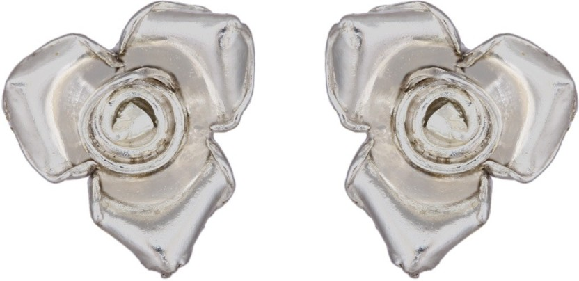 MirrorWhite Rosette Floral StudS Sterling Silver Stud Earring