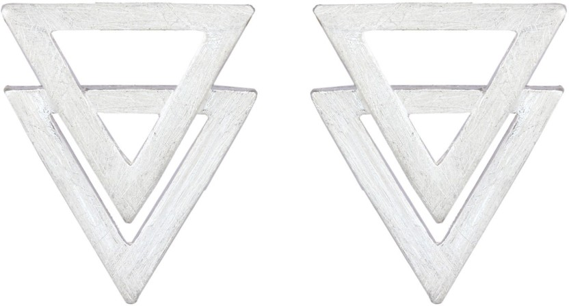 MirrorWhite Mirror Triangular Studs Sterling Silver Stud Earring