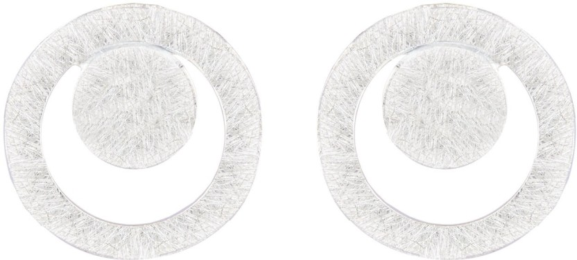 MirrorWhite Round Disc Silver Studs Sterling Silver Stud Earring