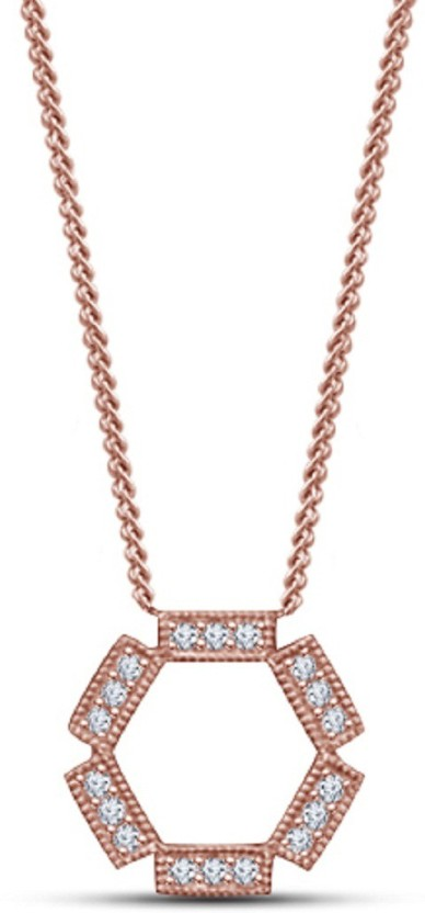 Lilu Jewels Lilu Jewels Classy Look Design Rose Gold Plated 925 Sterling Silver Round Cut White CZ Pendant For Girls Special Party Wear 14K Rose Gold Cubic Zirconia Silver Pendant