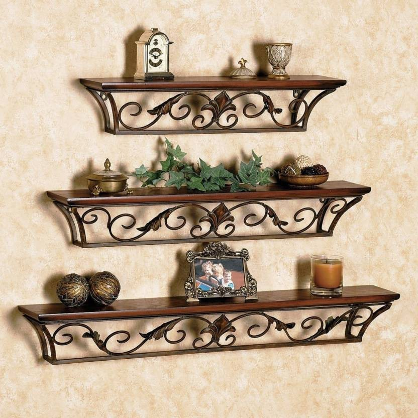 Artesia Antique Set of 3 Wooden Wall Shelf