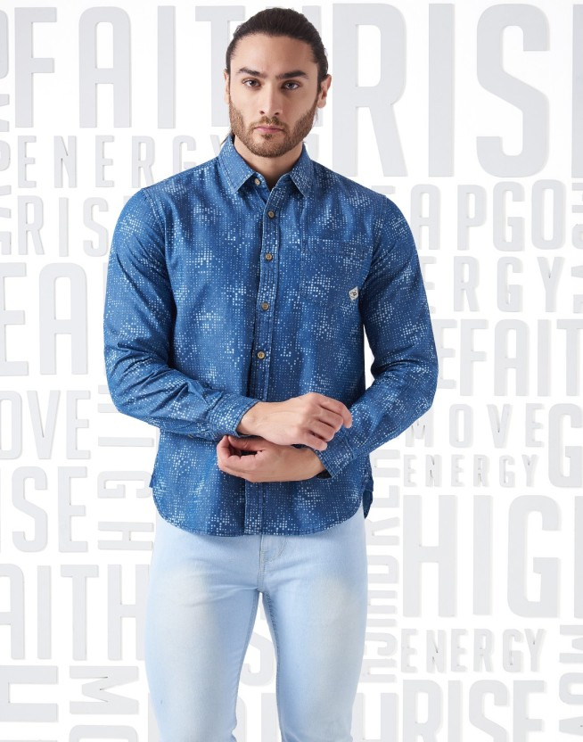 Metronaut Men Printed Casual Blue Shirt