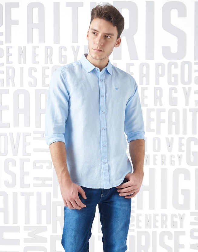 Metronaut Men Solid Casual Light Blue Shirt