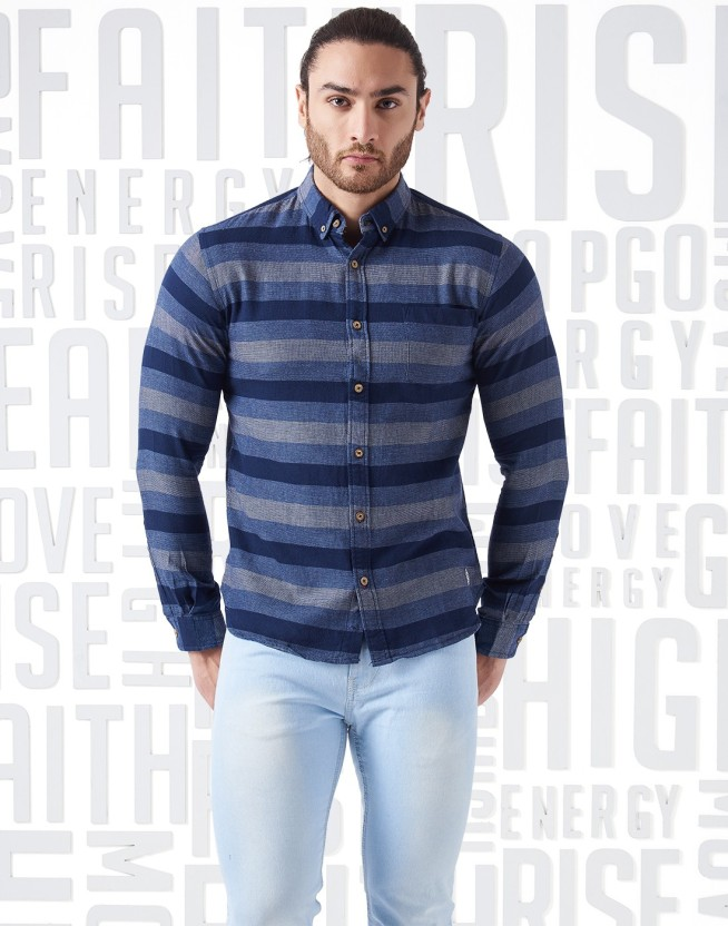 Metronaut Men Striped Casual Blue Shirt