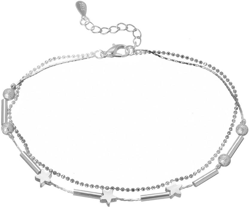 DCJEWELS Elegant Star Anklet For Women & Girls Sterling Silver Anklet