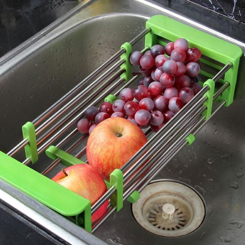 Onmall Fruits and Vegetables Draining Rack Multifunctional Telescopic Stainless Steel Sink Drain Basket Rack Storage Organizer Steel, Plastic Kitchen Rack
