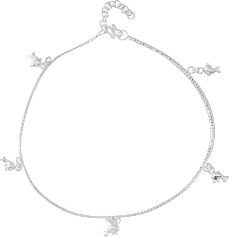 Swank Silver Elegant Ball Sterling Silver Anklet