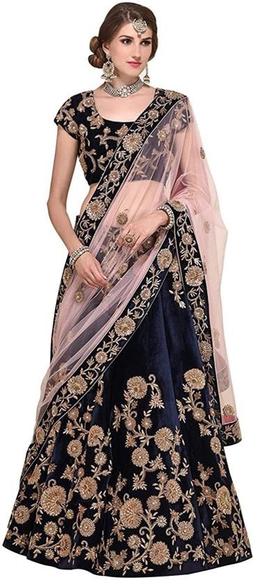 Zeel Clothing Velvet Applique, Embellished, Embroidered Semi-stitched Lehenga Choli Material, Lehenga Choli Material