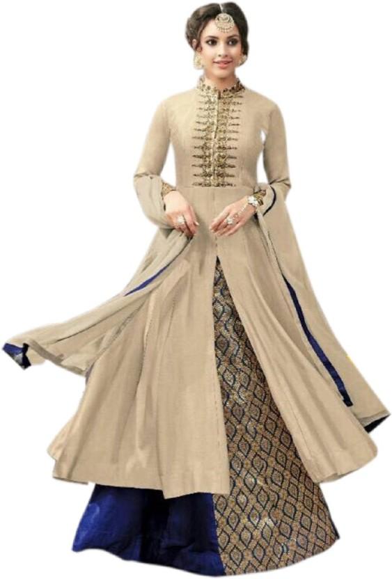 Welcreation Chanderi Embroidered Salwar Suit Dupatta Material