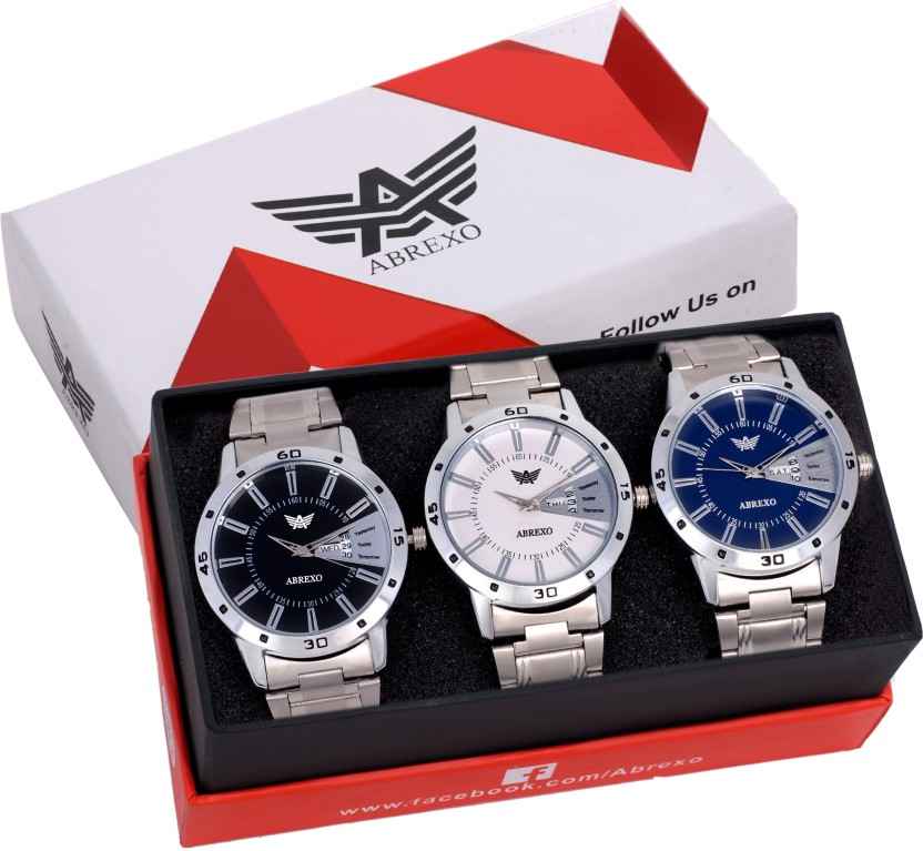 Abrexo Abx-1157 Combo Gents Exclusive (Casual+PartyWear+Formal) Designer Combo of 3 Day and Date Watch  - For Men