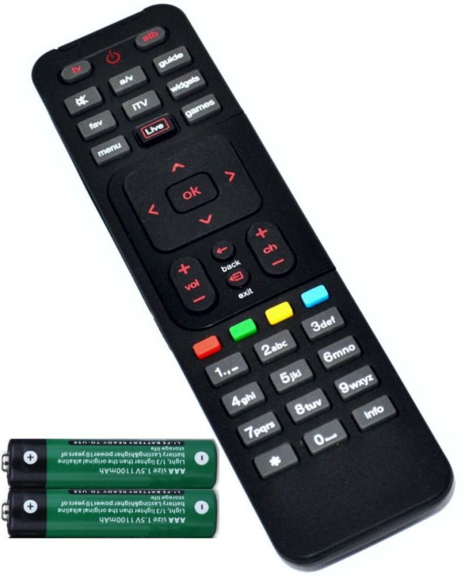 FineArts DTH Set Top Box Remote Controller with 2 Pcs Battery of 1.5 V Compatible for Airtel Remote Controller