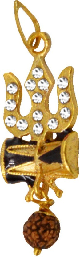 Men Style Cubic Zironia Shiv Trishul Damaru With Rudraksha Yellow Gold Alloy Pendant