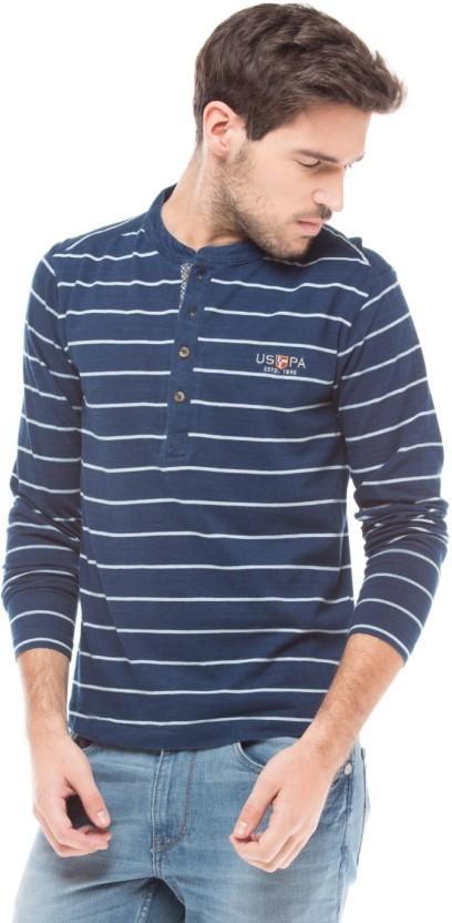 U.S. Polo Assn. Striped Men Henley Blue T-Shirt