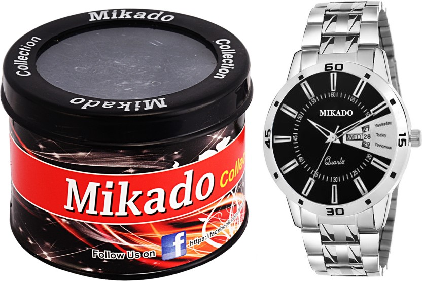 Mikado Exclusive Day and date black dial watch with one stylish outer case and 1 year warranty for Men
