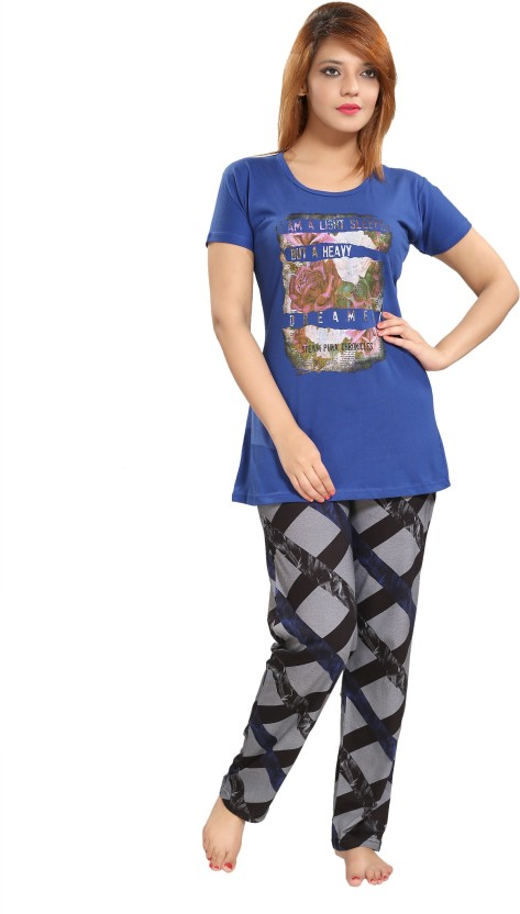 BTC Women Printed Blue Top & Pyjama Set