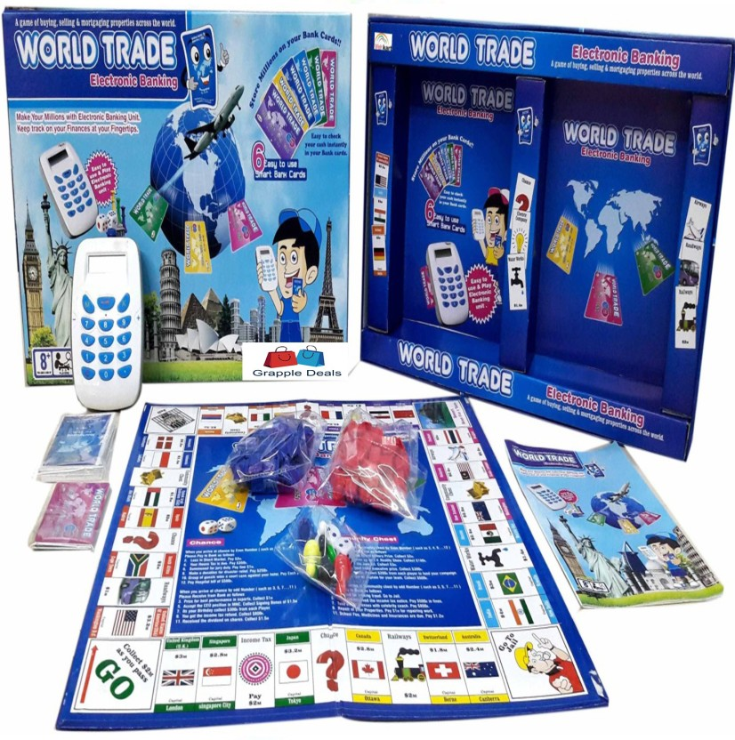 GRAPPLE DEALS World Trade Electronic Banking Monopoly With Swiping- Property Trading Game Machine- For Kids. Board Game