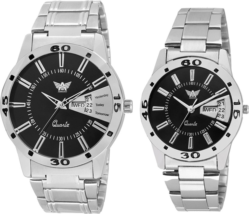 Abrexo Abx1157-Black-Couple Exclusive Formal Stylish Designer Combo Day and date Series Watch  - For Men & Women