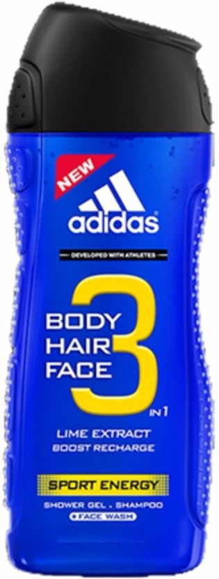 Adidas Lime Extract Sport Energy (3 In 1) Shower Gel + Shampoo + Face Wash 400ml