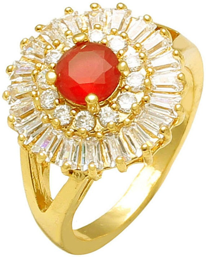 Memoir Gold plated Ruby Red and White Taper Baguette CZ ring, for Women Brass Ruby 24K Yellow Gold Plated Ring