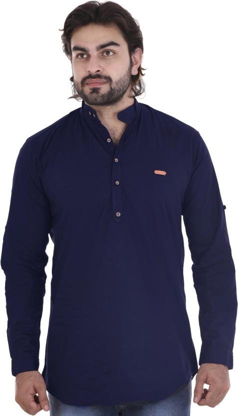 MR.KAMEEJ Men Solid Casual Blue Shirt