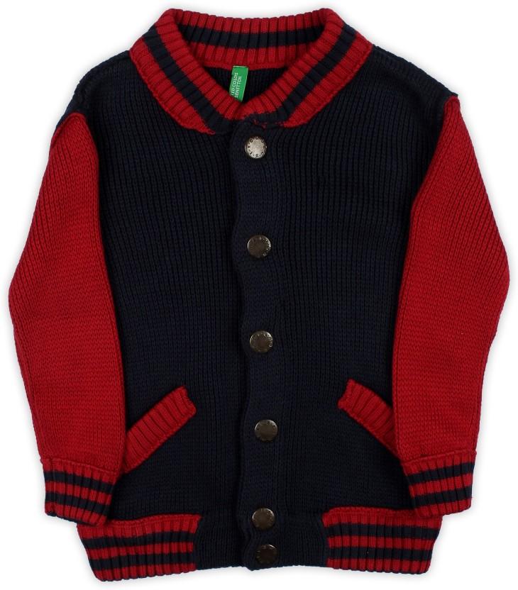 United Colors of Benetton Self Design V-neck Casual Boys Dark Blue Sweater