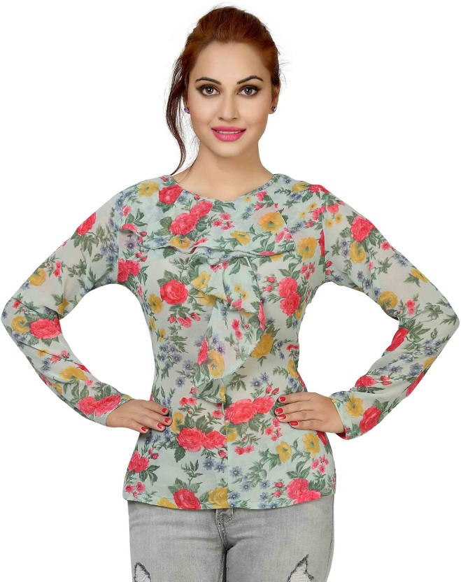 Ishin Party Full Sleeve Floral Print Women