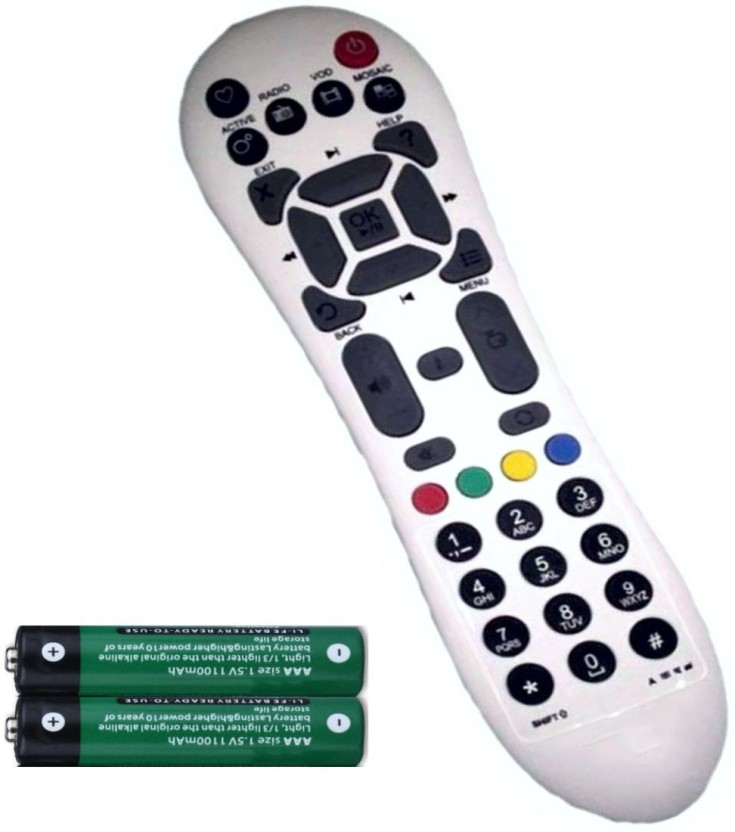 FineArts DTH Set Top Box Remote Controller with 2 Pcs Battery of 1.5 V Compatible for Videocon Remote Controller