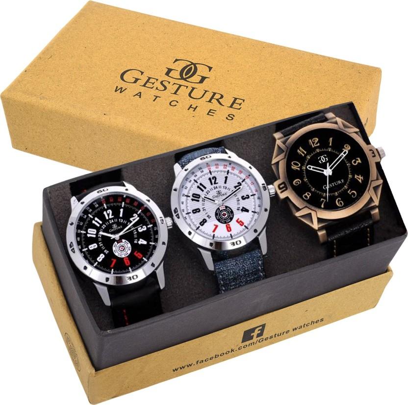 Gesture 7900-Gents Exclusive (Casual+PartyWear+Formal) Designer Combo Watch  - For Men
