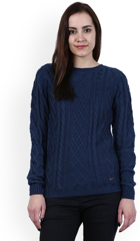 Wrangler Solid Round Neck Casual Women Blue Sweater