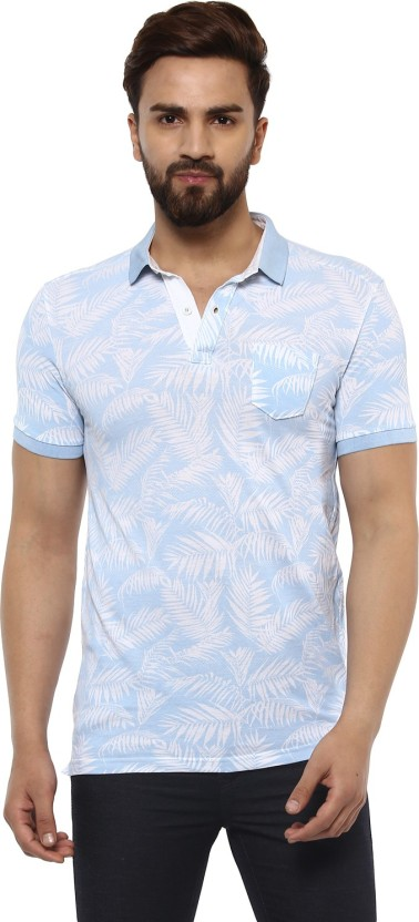 Mufti Printed Men Polo Neck Light Blue T-Shirt
