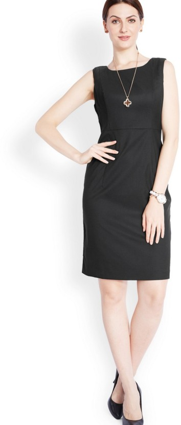 Park Avenue Women Fit and Flare Black Dress
