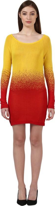 Runway Modum Solid Round Neck Casual Women Maroon Sweater