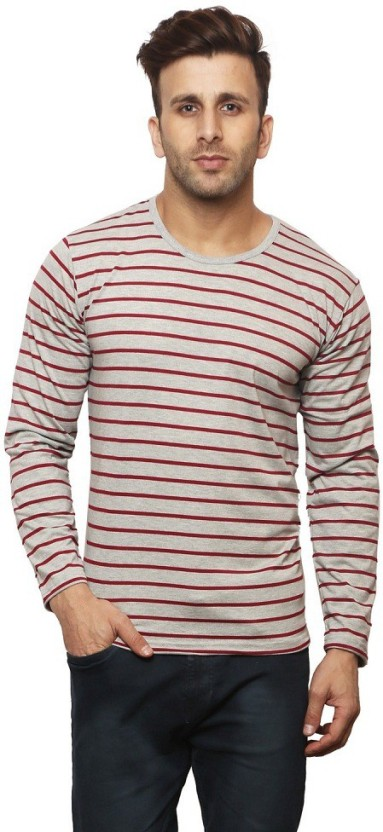 Leana Striped Men Henley Grey, Maroon T-Shirt