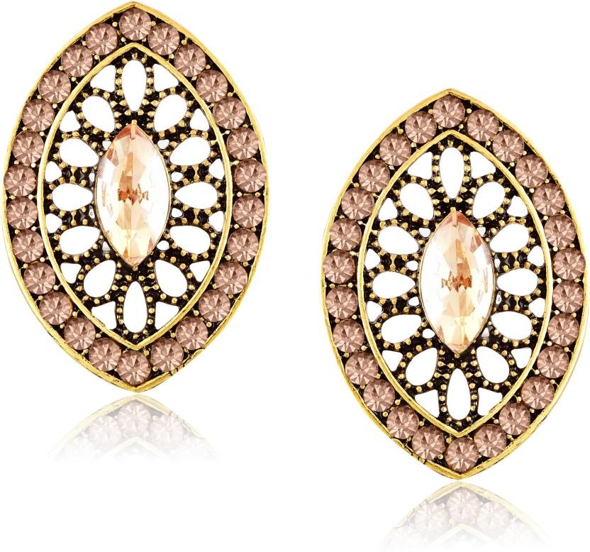 Meenaz Fashion Jewellery Traditional Gold plated Pearl Crystal Earrings for women party wear stylish designer Wedding Set Ear ring studs for girls- earrings studs-133 Kyanite Copper Stud Earring